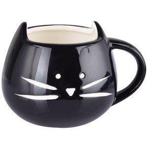 10 Strawberry Street 12 oz Cat Faceマグカップ – ブラックwithホワイト髭 B076998S4C