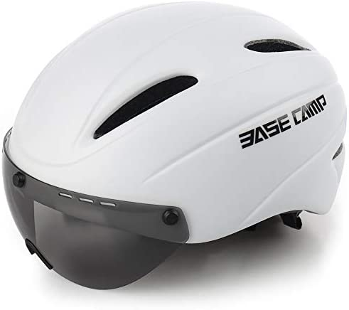 BASE CAMP Cycling Bike Helmet with Removable Shield Visor – Adjustable Adult M Size 21.75-23.5 Inches