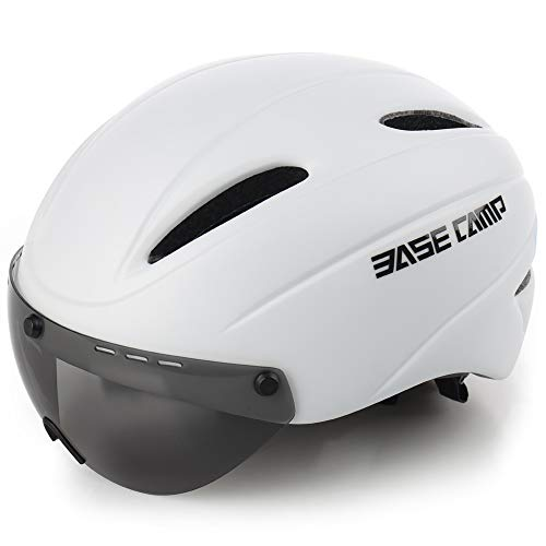 BASE CAMP Cycling Bike Helmet with Removable Shield Visor - Adjustable Adult M Size 21.75-23.25 Inches