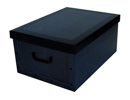 Kreher - «Classic Blue» - Carton décoratif XXL - Couleur tendance - Avec rayures subtiles. Pratique et élégant pour la maison, le bureau ou pour offrirAvec poignées de transport, volume XXL.