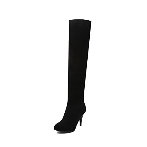 AllhqFashion Womens Solid Imitated Suede High-Heels Pull-On Round Closed Toe Boots Black 3VylduIlmB