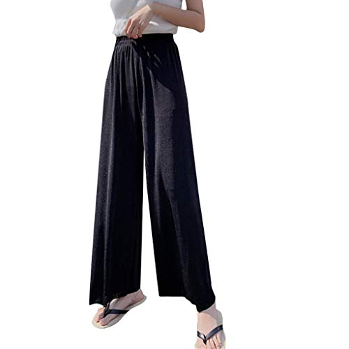 Nihewoo Women Summer Pants Loose Long Pants Trousers Solid Color Elastic Waist Trousers Wide Leg Legging Pants Black