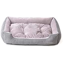 Pet Supplies Big Dog Bed Pitbull Sleep Couch Striped Detachable Dog Cat Mattress Cats Bulldog Sofa Kennels Bedding Pads,Grey Stripe,XXL 90X70X15Cm