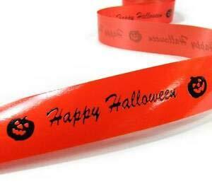 10 Yds Halloween Orange Happy Halloween Pumpkin Splendorette Ribbon 1 1/8