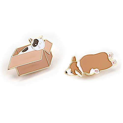 Welsh Corgi Jewelry Pin - Cute Metal Brooch Pins Lapel Pins Badge for Women Girls for Clothing Bag Decor (Cat&Welsh CorgI)