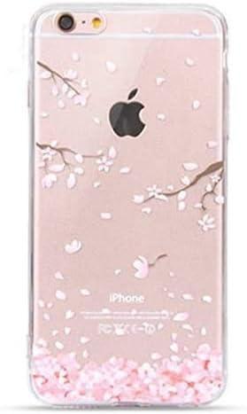 NEOFAY Cover iPhone 6 Plus / 6S Plus, Morbida Silicone Trasparénte Addensare TPU Carino Creatività Protezione Custodia Case (Fiori di Ciliegio)