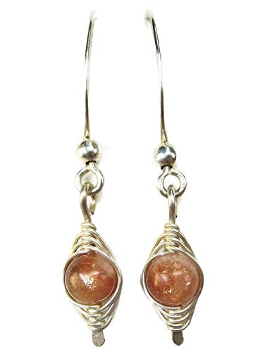 Oregon Sunstone and Sterling Silver Woven Herringbone Earrings