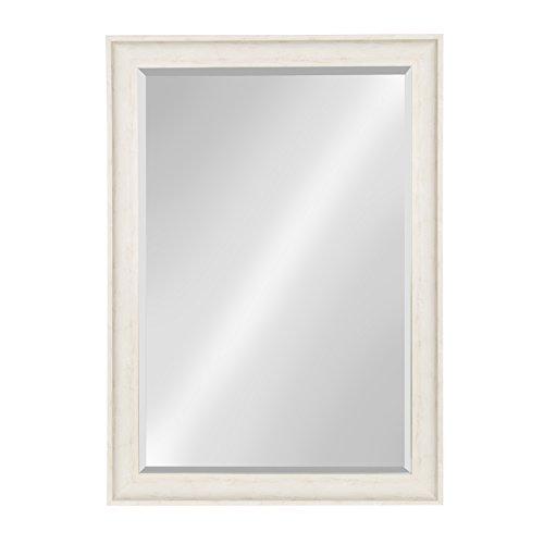 Kate and Laurel McKinley Framed Wall Vanity Beveled Mirror, 28.5x40.5, Distressed White (White Vintage Vanity)