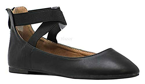ANNA Dana20 Womens Classic Ballerina Flats Elastic Crossing Straps,10,Black Leather ()