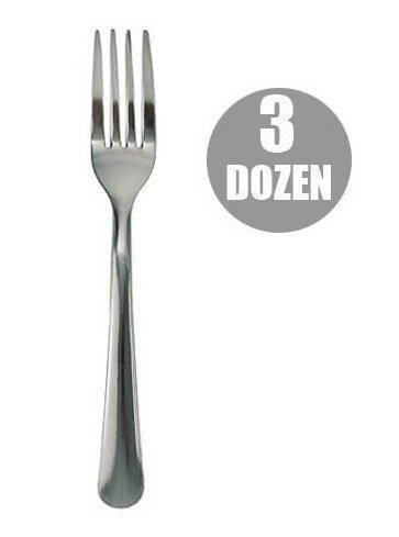 3 Dozen Full Size Chrome Plated Dinner Forks, Simple Windsor Style