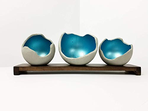 Decorative Concrete Bowl - Aqua- Air Plant Holder - Candle Holder - Smudge Bowl