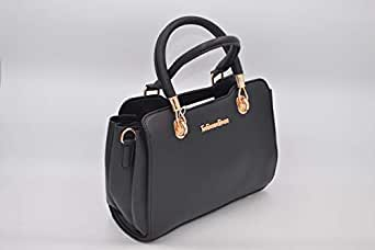 Glamer Baguette Bags for Women, Leather, Black