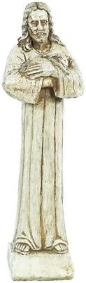 Solid Rock Stoneworks Jesus Holding Lamb Stone Statue 26in Tall Buff Color
