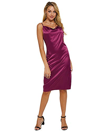 - Moxeay Womens Cowl Neck Backless Spaghetti Strap Cocktail Bodycon Midi Dress (L, Wine Red)