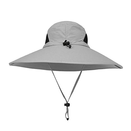 LWKBE Outdoor Fishing Hat for Men Sun Protection Wide Brim Bucket Hat Waterproof Breathable Nylon Hat with Wind Lanyard for Safari Fishing Beach - Hat Nylon Golf