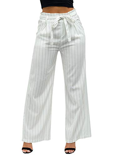 (Lynwitkui Womens Striped Pant High Waist Wide Leg Tie Palazzo White Pants with Pockets)