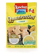 Loacker Quadratini Premium Italian Lemon Wafer Cookies, 250g/8.82oz, Lemon, 250 Grams