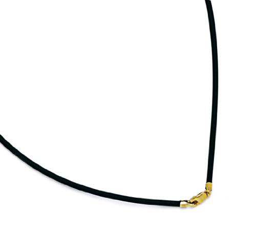 14k Yellow Gold Rubber Cord Necklace - Measures 2mm - 22 Inch
