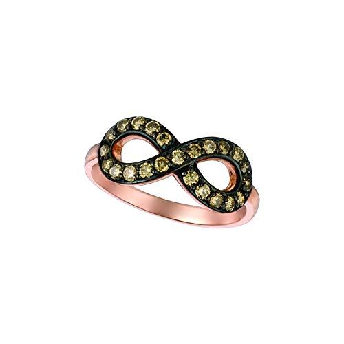 14K Pink Gold Champagne Diamond Infinity Ring - 0.5ctw. Diamond ()