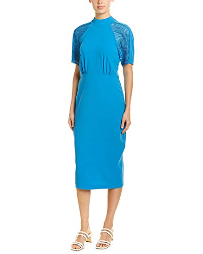 BCBGMax Azria Women's Lace Inset Sheath Dress, French Blue, 0 (Sheath Inset Dress)