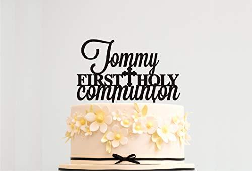 Decoración para tarta de Primera Comunión MI Bautizo con nombre ...