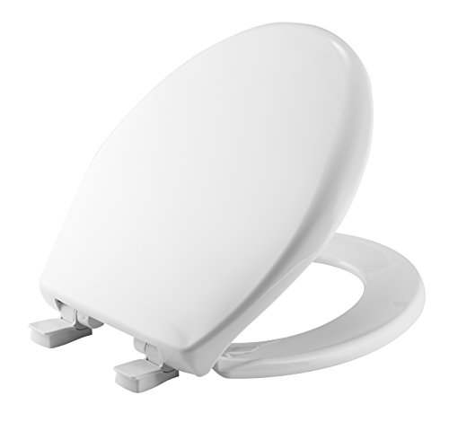 Mayfair Slow-Close Plastic Toilet Seat featuring Easy Clean & Change Hinges and STA-TITE Seat Fastening System, Round, White, 20SLOWE 000