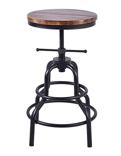 LOKKHAN Industrial Bar Stool-Swivel Wood Seat-Metal Frame Footrest-Rustic Farmhouse Counter Height Adjustable Stool-20-27 Inch