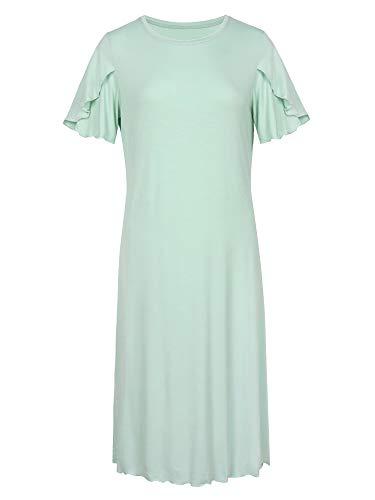 LazyCozy Women's Scoop Neck Short Sleeve Sleep Shirt Bamboo Nightgown, Auqa, Small Aqua
