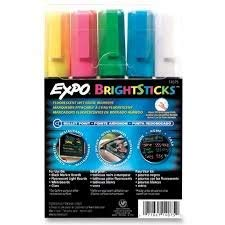 Sanford Wet Bright Sticks Wet-Erase Fluorescent Markers, Assorted Fluorescent Colors, (14075) (2-Pack of 5)