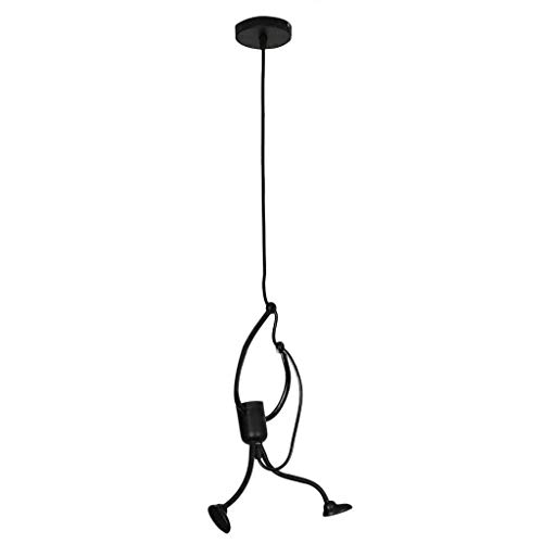 Creative Little People Pendant Lighting, Modern Charming Hanging Chandelier Adjustable Hanging Lights Iron Cartoon Doll Chandeliers Elegant Hanger for Dining Room Bedroom Decor (Black)