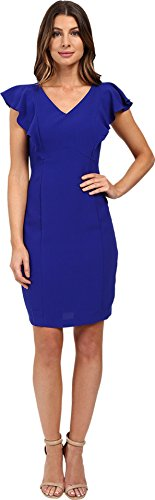 Sangria Women's Cap Sleeve Sheath with Ruffle Detail Cobalt Dress 2 (Ruffle Cap)