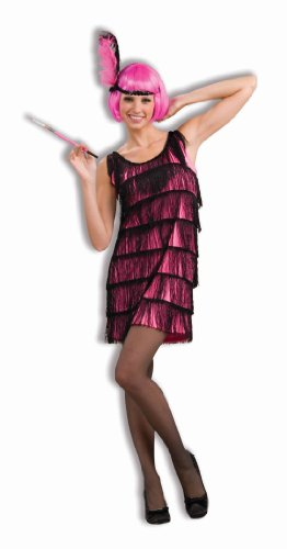 Woman's Jazzy Flapper Costume, Pink/Black, (Black Flapper Dress Halloween Costumes)