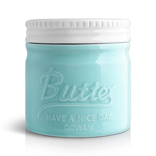 DOWAN Porcelain Butter Keeper Crock, Mason Jar Type Butter Crock, French Butter Dish, No More Hard Butter, Spreadable Consistency, Blue