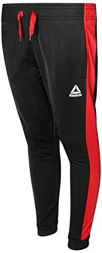 (Reebok Boys Poly Tricot Active Jogger Pants, Black/Red, Small')