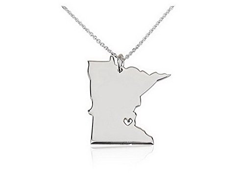 Silver Sterling Minnesota State Charm - State Necklace Minnesota State Charm Necklace Sterling Silver State Necklace with a Heart (14 Inches)