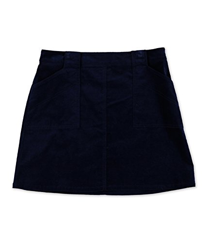 (Maison Jules Womens Velvet Corduroy Mini Skirt Navy)