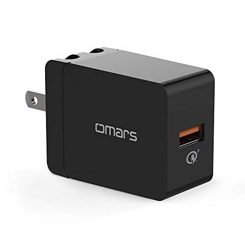 Quick Charge 3.0 18W USB Wall Charger, Omars Portable Travel Phone Charger Plug Fast AC Power Adapter Qualcomm QC 3.0 Compatible Samsung, iPhone X/8/7, iPad More(Qualcomm Certified)