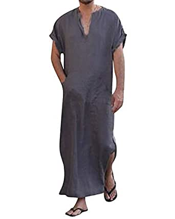 Honiee Men's Caftan V-Neck Short Sleeve Robe Side Split Cotton Long Gown Thobe S-5XL (5XL, Navy)