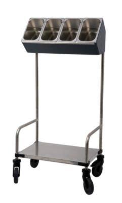 Edelstahl-Tablett- und Besteckwagen - 1 Besteckbox mit 4 Besteckeinsätzen, 1-teilig - Servicewagen Besteckwagen Tablettwagen