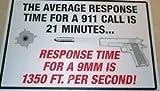 Warning 2nd Amendment Security Average Response Time Metal Sign