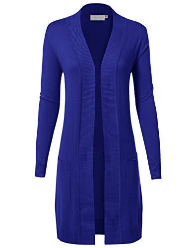 MAYSIX APPAREL Womens Long Sleeve Long Line Knit Sweater Open Front Cardigan W/Pocket Royalblue L