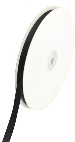 Creative Ideas Solid 3/8-Inch Grosgrain Ribbon, 50-Yard, (Black Silk Ribbon)