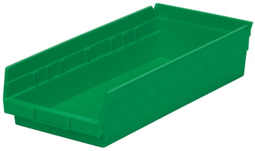 Akro-Mils 30158 18-Inch by 8-Inch by 4-Inch Plastic Nesting Shelf Bin Box, Green, Case of 12 ()