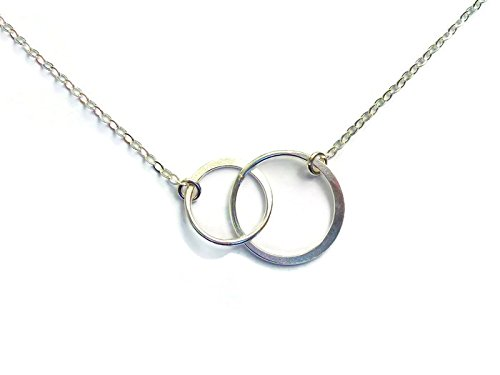 Sterling Silver Interlocking Circles Necklace, Dainty Double Circle Infinity Sisters Necklace (Circle Silver Interlocking Sterling)