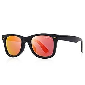 MERRY'S Retro Rivet Polarized Sunglasses for Men 80's Classic Women Sun glasses S8140 (Red Mirror, 50)