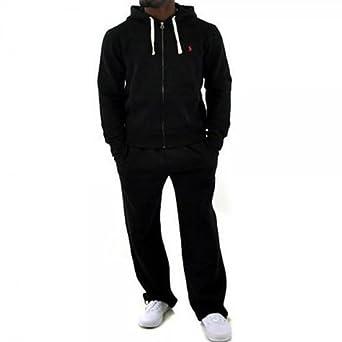 2249da2d9 New Mens Polo Ralph Lauren Men s Fleece hooded tracksuit Top and Bottom - S  M L XL Black