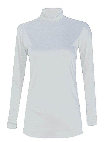 Plain 40 White 58 Manica Fancy Polo Islander Donna Neck Top Elastico Jumper Da Lunga Fashions Womens A It x4TEg