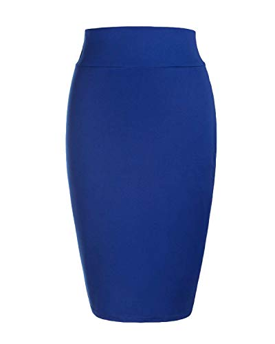 KENANCY Women's High Waist Bodycon Long Skirt Knee Length Pencil Skirts Casual Solid-Blue-Large by KENANCY (Image #2)