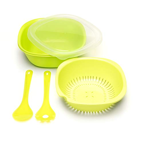 Amuse- Portable Salad Bowl Set- 5 pieces- Includes Large Bowl plus Strainer with Lid- Spoon and Fork for tossing, mixing and serving- 11 inch (Green) ()