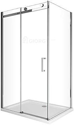 Lujoso Box de Ducha con mampara de 8 mm, compuesta de pared fija 70 80 + Puerta deslizante 100 120 140 160 170 + riel de aluminio cromado + Tirador inoxidable +